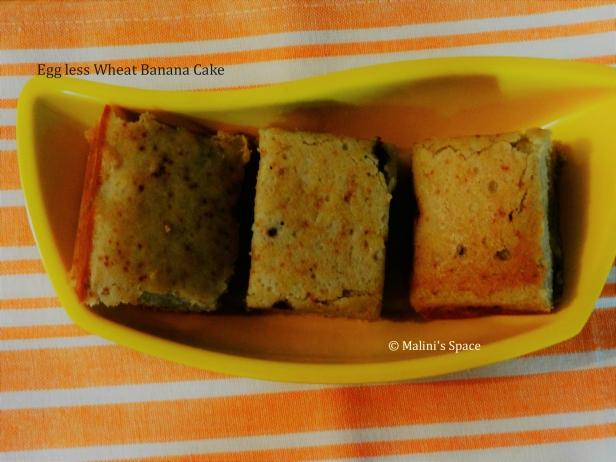 Egg less Wheat Banana Cake