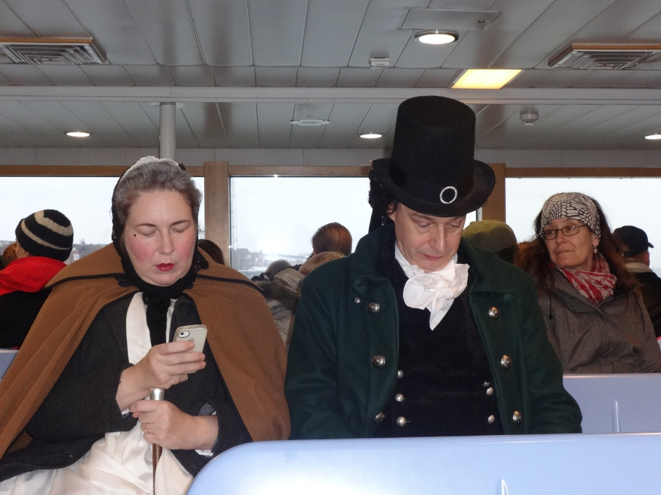 Spotted a cute couple in traditional attire in Ferry