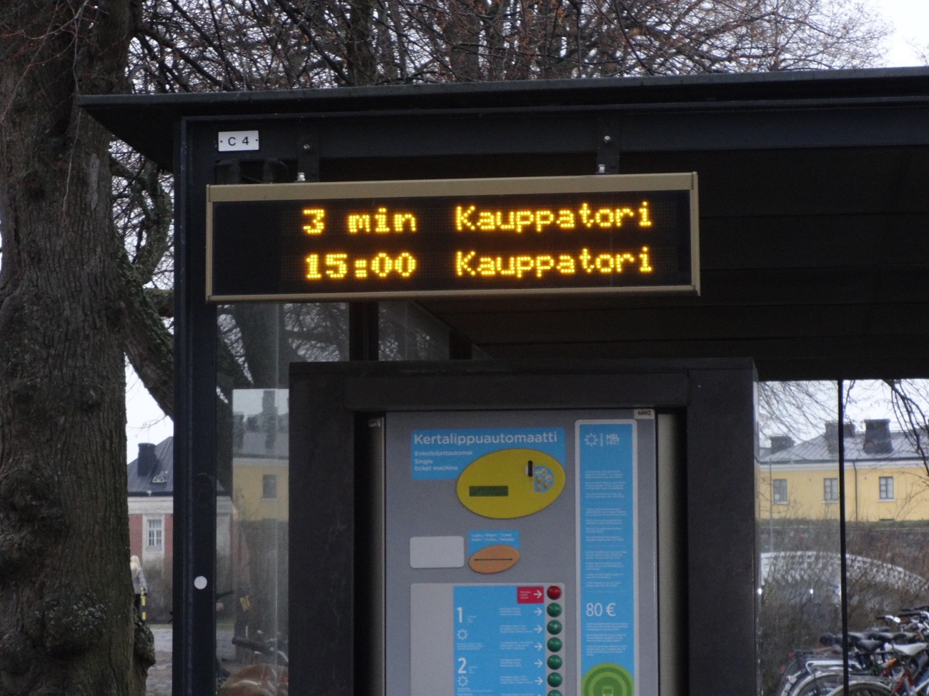 Digital board about the Ferry Departure at Soumenlinna