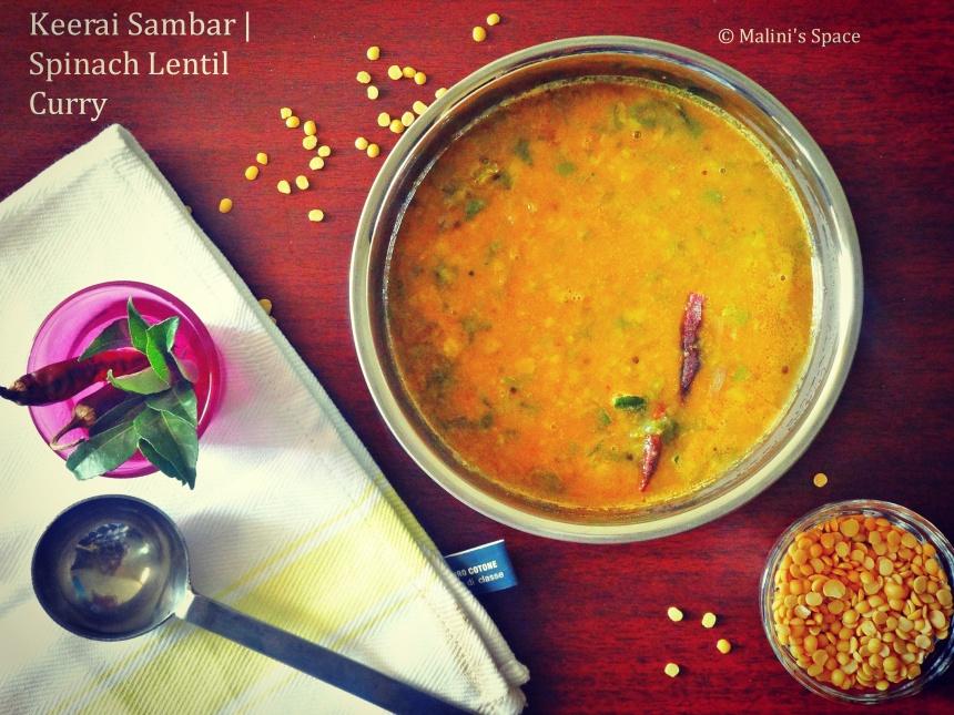 Keerai Sambar | Spinach Lentil Curry