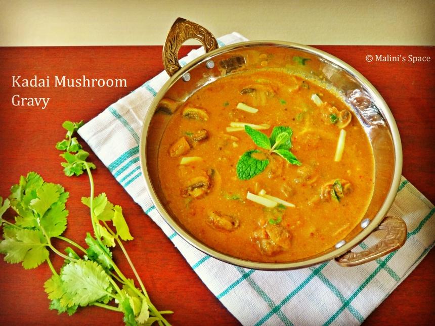 Kadai Mushroom Gravy Recipe