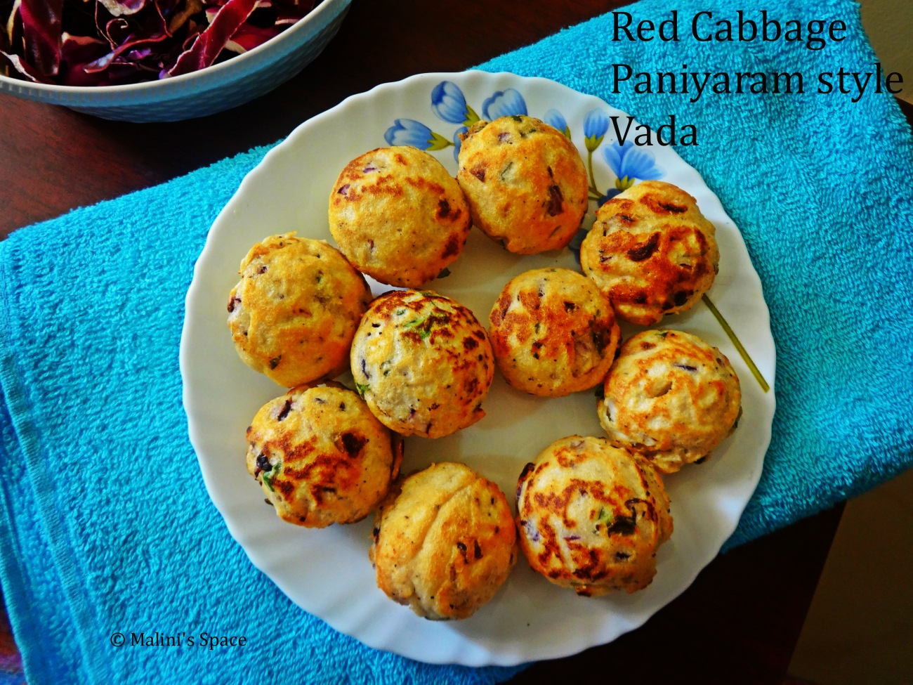 Red Cabbage Vada - Paniyaram Style