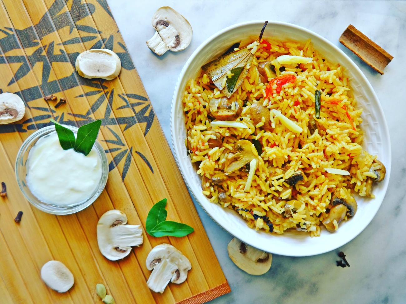 Mushroom rice with home made spice masala