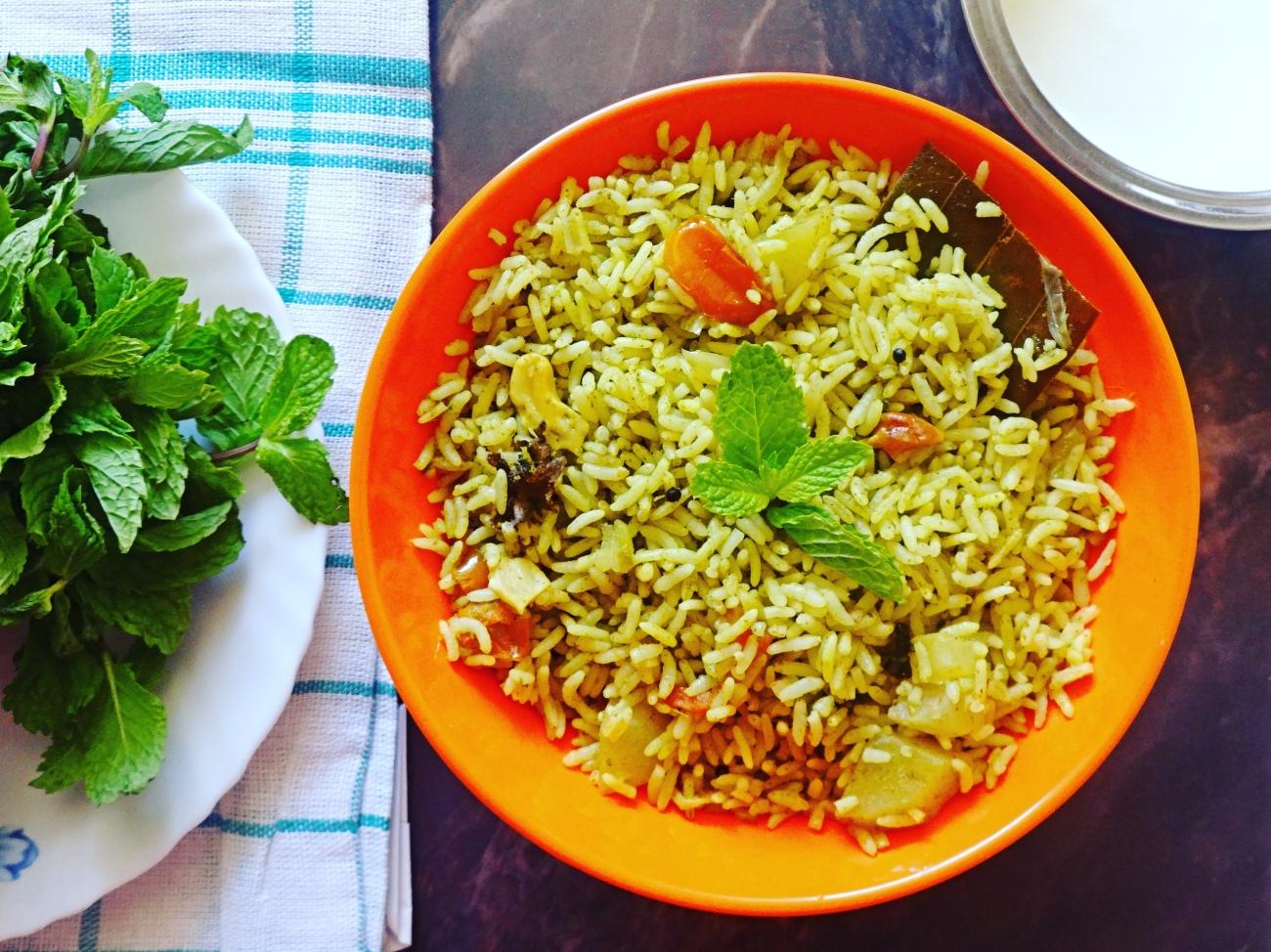 Puthina Rice (Mint Rice) Recipe
