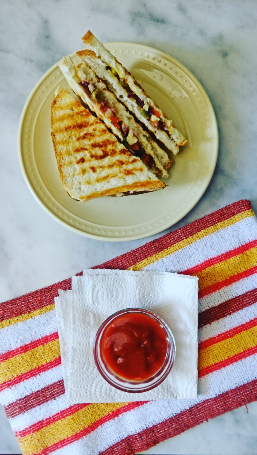 Mixed Vegetable and Paneer Sandwich Recipe