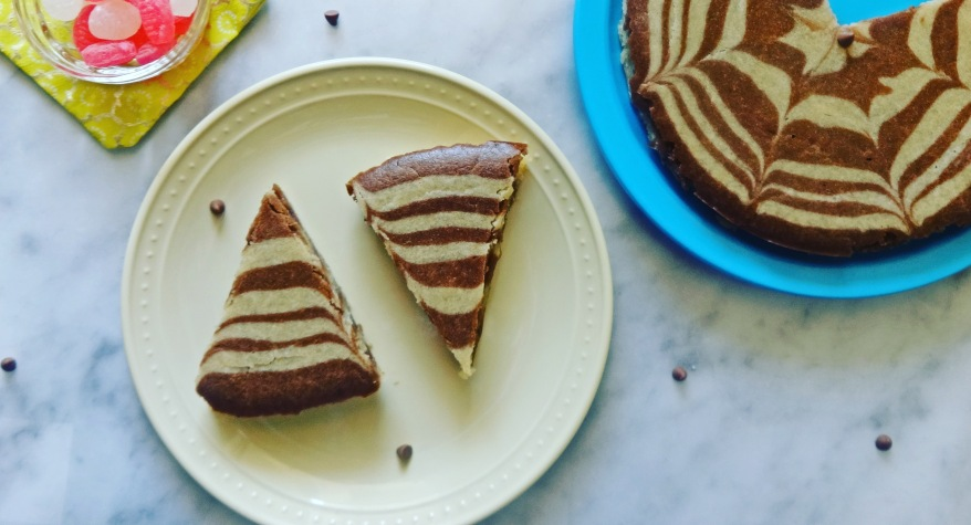 Egg-less Whole Wheat Marble Cake Recipe