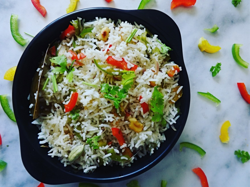 Capsicum and Garlic Fried Rice